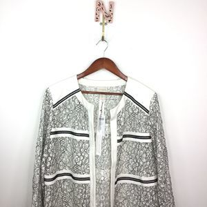 NEW Chicos Two Toned Lace Jacket Black White